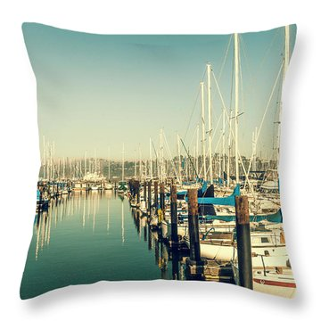 Marinaside Sausalito California Throw Pillow