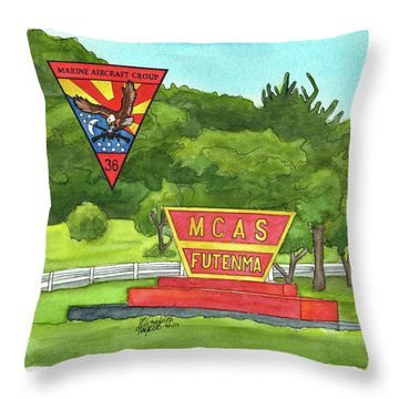Throw Pillow featuring the painting Marine Aircraft Group At Mcas Futenma by Betsy Hackett