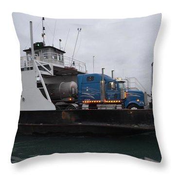 Marine City Mich Car Truck Ferry Throw Pillow