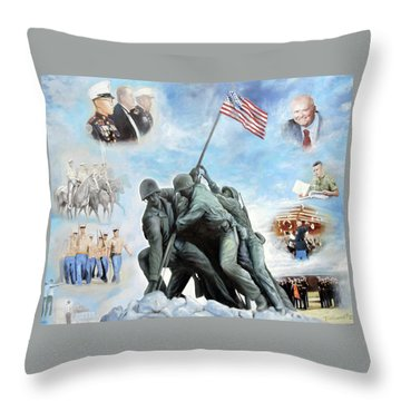 Marine Corps Art Academy Commemoration Oil Painting By Todd Krasovetz Throw Pillow by Todd Krasovetz
