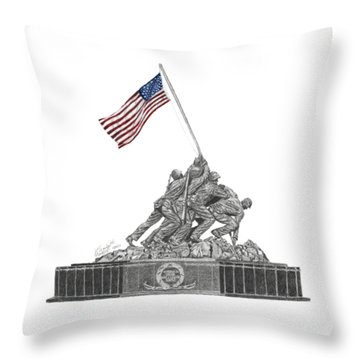 Throw Pillow featuring the drawing Marine Corps War Memorial - Iwo Jima by Betsy Hackett