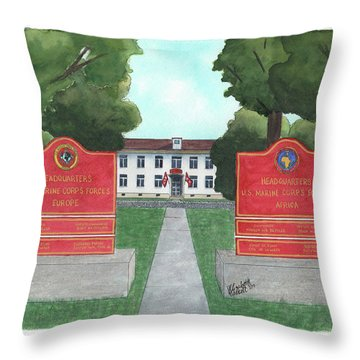 Throw Pillow featuring the painting Marine Forces Europe And Marine Forces Africa by Betsy Hackett