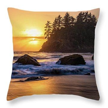 Marine Layer Sunset At Trinidad, California Throw Pillow