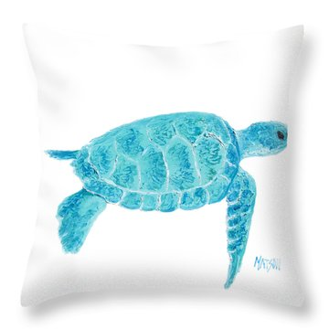 Marine Turtle Painting On White Throw Pillow