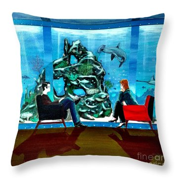 Marinelife Observing Couple Sitting In Chairs Throw Pillow