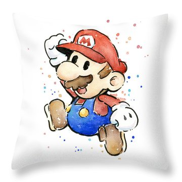 Mario Watercolor Fan Art Throw Pillow