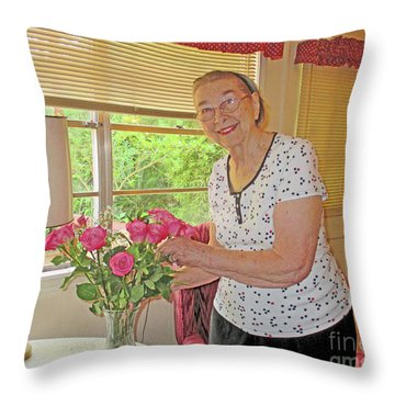 Marion Loves Roses Throw Pillow by Fred Jinkins