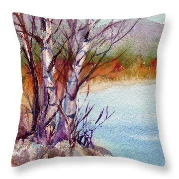 Throw Pillow featuring the painting Mari's Birches by Kris Parins