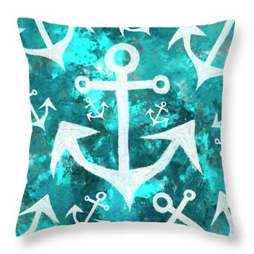 Maritime Anchor Art Throw Pillow