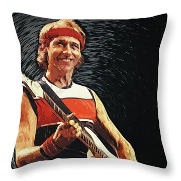 Throw Pillow featuring the painting Mark Knopfler by Taylan Apukovska