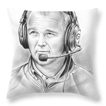Mark Richt  Throw Pillow by Greg Joens