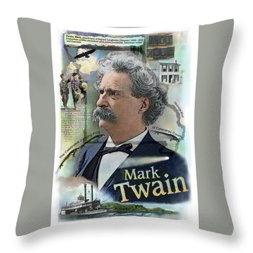 Throw Pillow featuring the mixed media Mark Twain by John Dyess