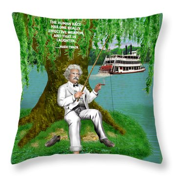 Mark Twain On The Mississippi Throw Pillow
