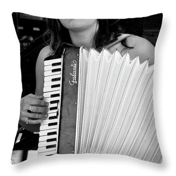 Market Accordion Player Throw Pillow by David Patterson