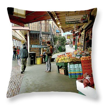 Market Alley Wares Throw Pillow