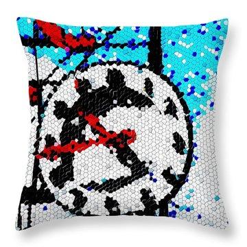 Market Clock Mosaic Throw Pillow by Tim Allen