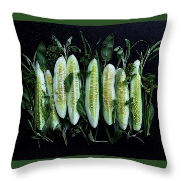 Market Cucumbers Throw Pillow