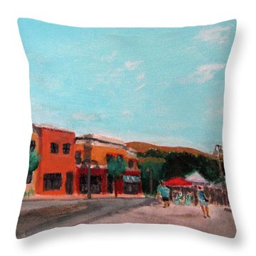 Throw Pillow featuring the painting Market Day by Linda Feinberg