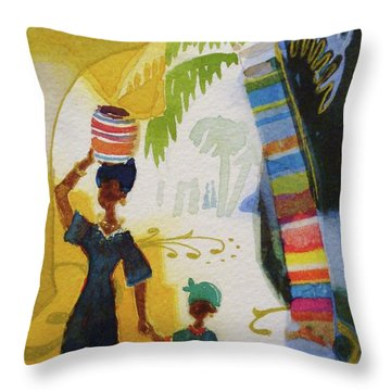 Market Day Throw Pillow by Marilyn Jacobson