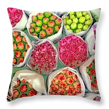 Market Flowers - Hong Kong Throw Pillow