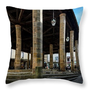 Market Hall Of Cordes-sur-ciel Throw Pillow by RicardMN Photography