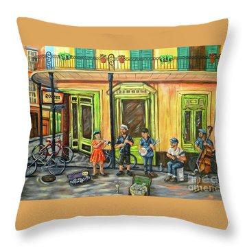 Market Musicians Throw Pillow