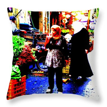 Market Scenes Of Beirut Throw Pillow by Funkpix Photo Hunter