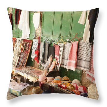 Market Stall In Hebron 2 Throw Pillow