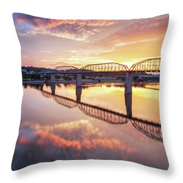 Market Street Jog At Sunrise Throw Pillow