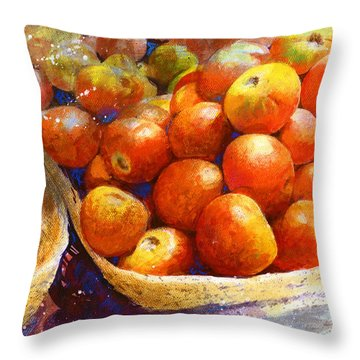 Market Tomatoes Throw Pillow by Andrew King