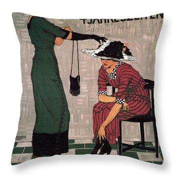 Marktgasse 37 - Bern, Switzerland - Stocking And Glove Store - Vintage Advertising Poster Throw Pillow