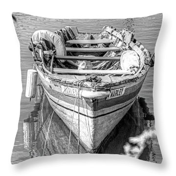 Marley Rowboat Rodney Bay Saint Lucia Black And White Throw Pillow