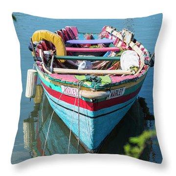 Marley Rowboat Rodney Bay Saint Lucia Throw Pillow