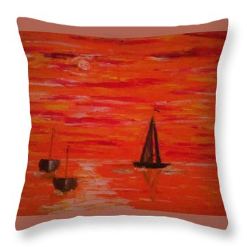 Throw Pillow featuring the painting Marmalade Skies by Debbie