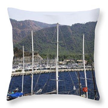 Marmaris Port Throw Pillow by Svetlana Sewell