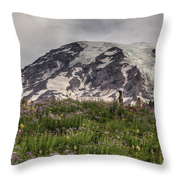 Marmots View Of Mount Rainier Throw Pillow