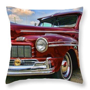 Maroon 1946 Mercury Throw Pillow by Nick Roberts