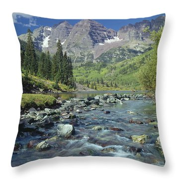 210404-maroon Bells And Creek  Throw Pillow