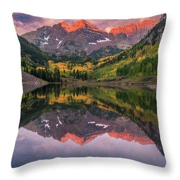 Maroon Bells At Sunrise Throw Pillow
