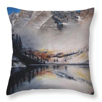 Maroon Bells Throw Pillow by Barbara Prestridge