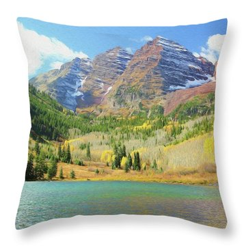 Throw Pillow featuring the photograph The Maroon Bells Reimagined 2 by Eric Glaser