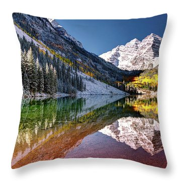 Olena Art Sunrise At Maroon Bells Lake Autumn Aspen Trees In The Rocky Mountains Near Aspen Colorado Throw Pillow