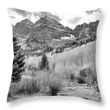Throw Pillow featuring the photograph Maroon Bells Monochrome by Eric Glaser