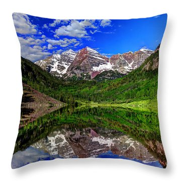 Maroon Bells Reflections Throw Pillow by Jean Hutchison