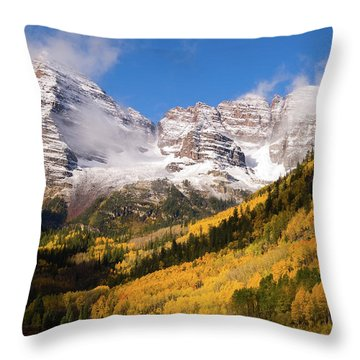 Throw Pillow featuring the photograph Maroon Bells by Steve Stuller