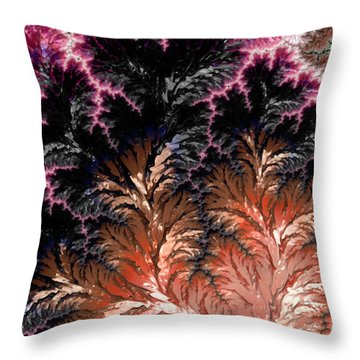 Maroon, Black And Orange Fractal Design Throw Pillow