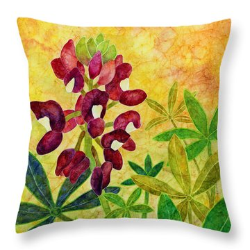 Maroon Bluebonnet Throw Pillow by Hailey E Herrera