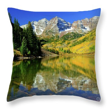 Maroon Lake Autum - 1 Throw Pillow