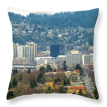 Marquam Bridge By Portland City Skyline Panorama Throw Pillow by David Gn