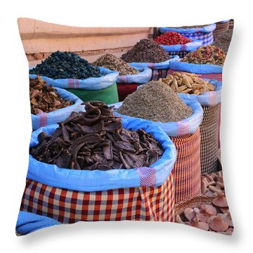 Throw Pillow featuring the photograph Marrakech Spice Market by Ramona Johnston